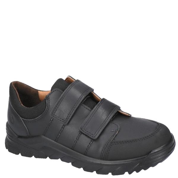 Boys Johno Black Velcro School Shoe