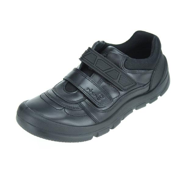Rhino Warrior Black Leather School Shoe
